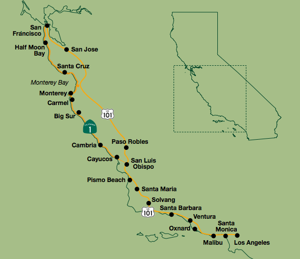 Self Guided Bike Tours CA Central Coast Wineries - Us bike route 1 map